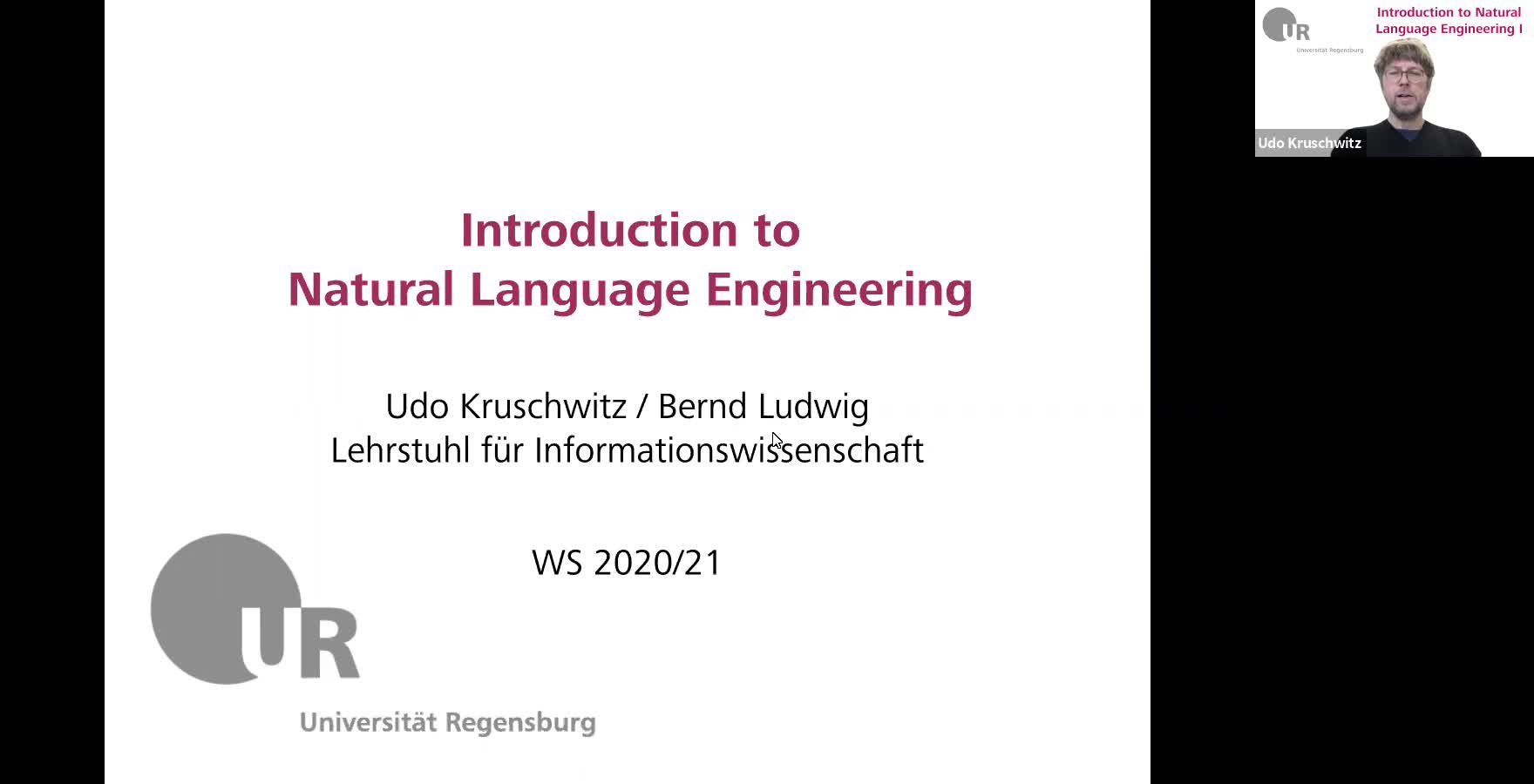 Introduction to Natural Language Engineering 1 / Informationslinguistik 1 - Lecture 1 (Overview)