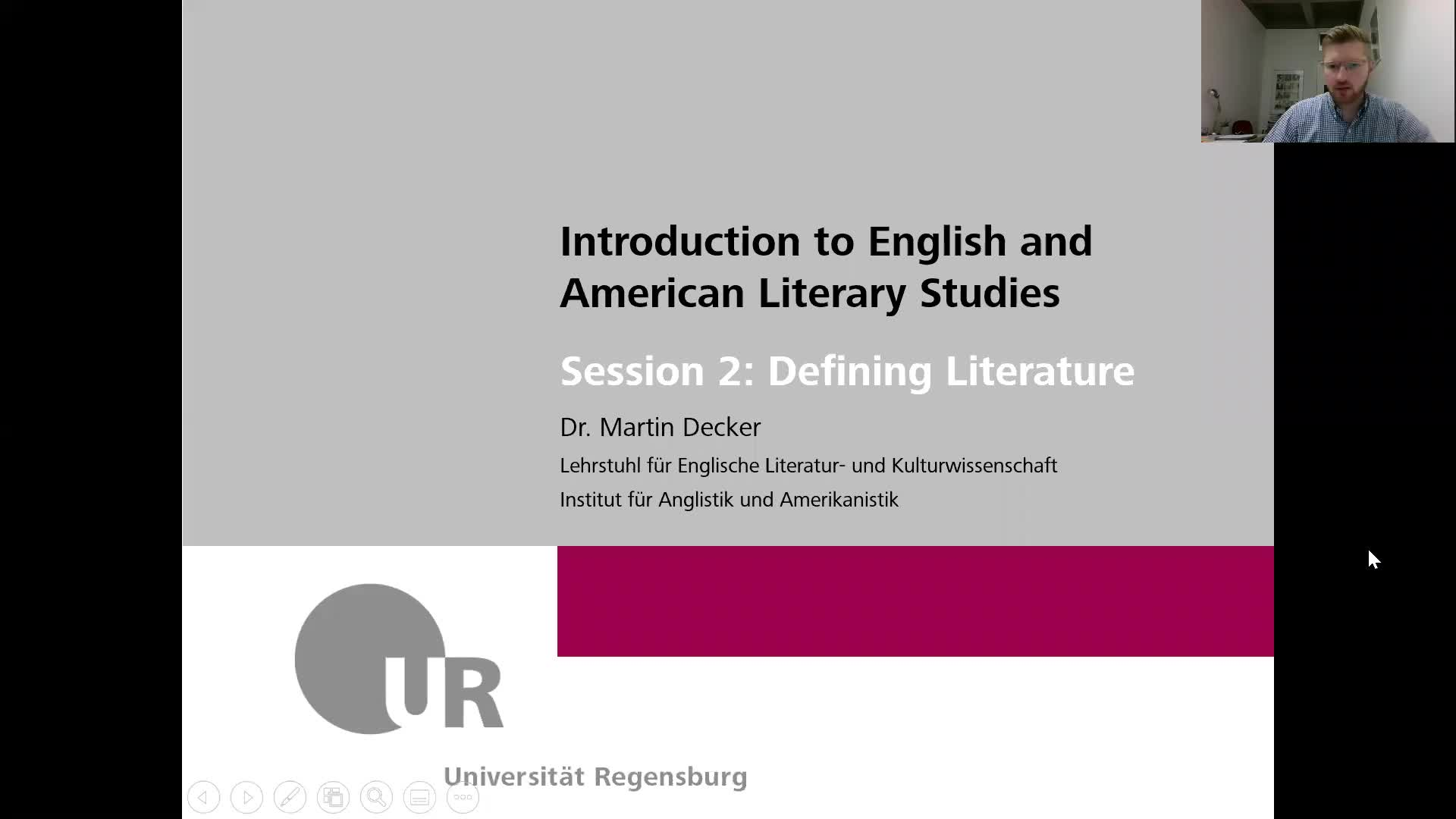 Introduction to English and American Literary Studies - LECTURE - Session 2