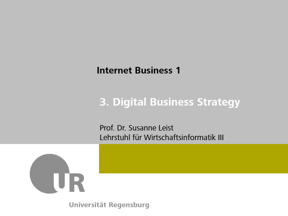 VL [3]: DBS: IS/IT-Strategie & Strategic Alignment