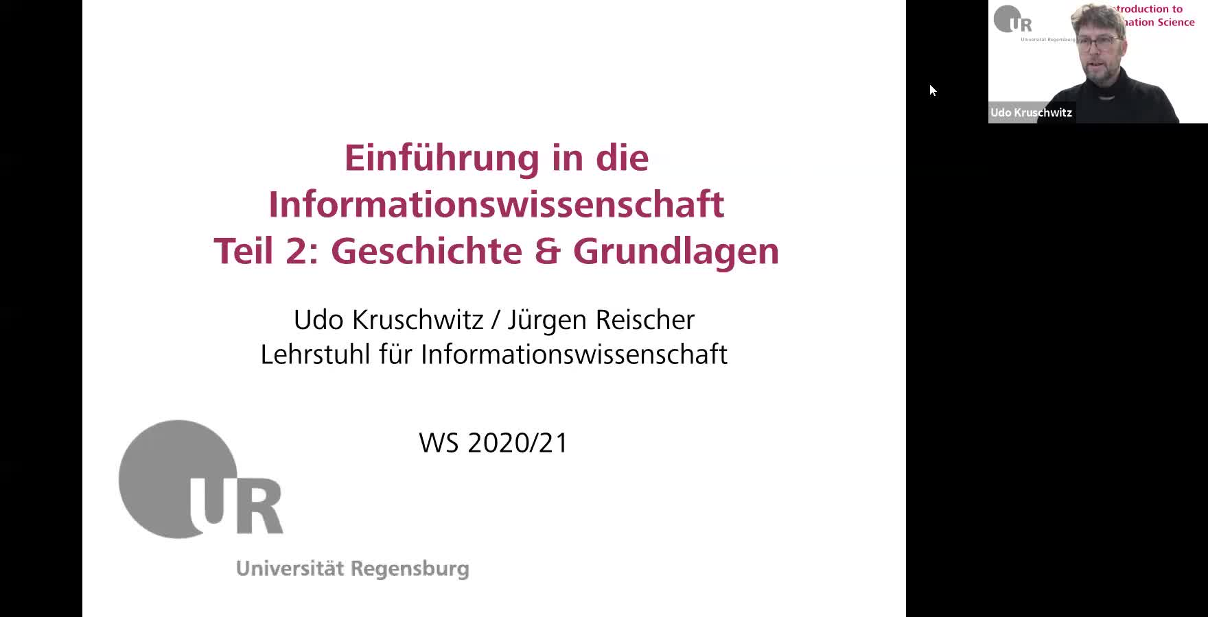 Introduction to Information Science - Lecture 2 (History and important concepts)