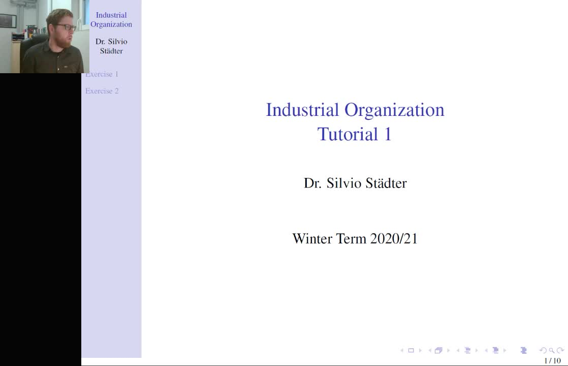 Tutorial 1  - Industrial Organization - Winter Term 2020/21
