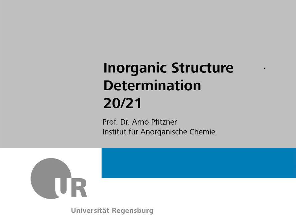 53107 Inorganic Structure Determination, 10.11.2020