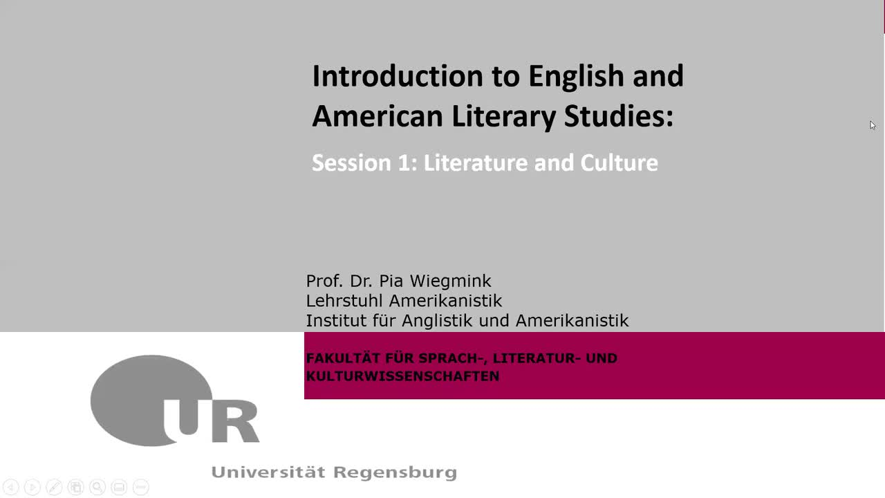 Introduction to English and American Literary Studies: Session 1