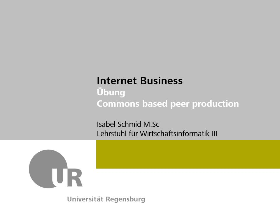 Commons based peer production: Lösung