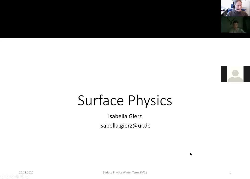 Surface Physics Lecture 20201120