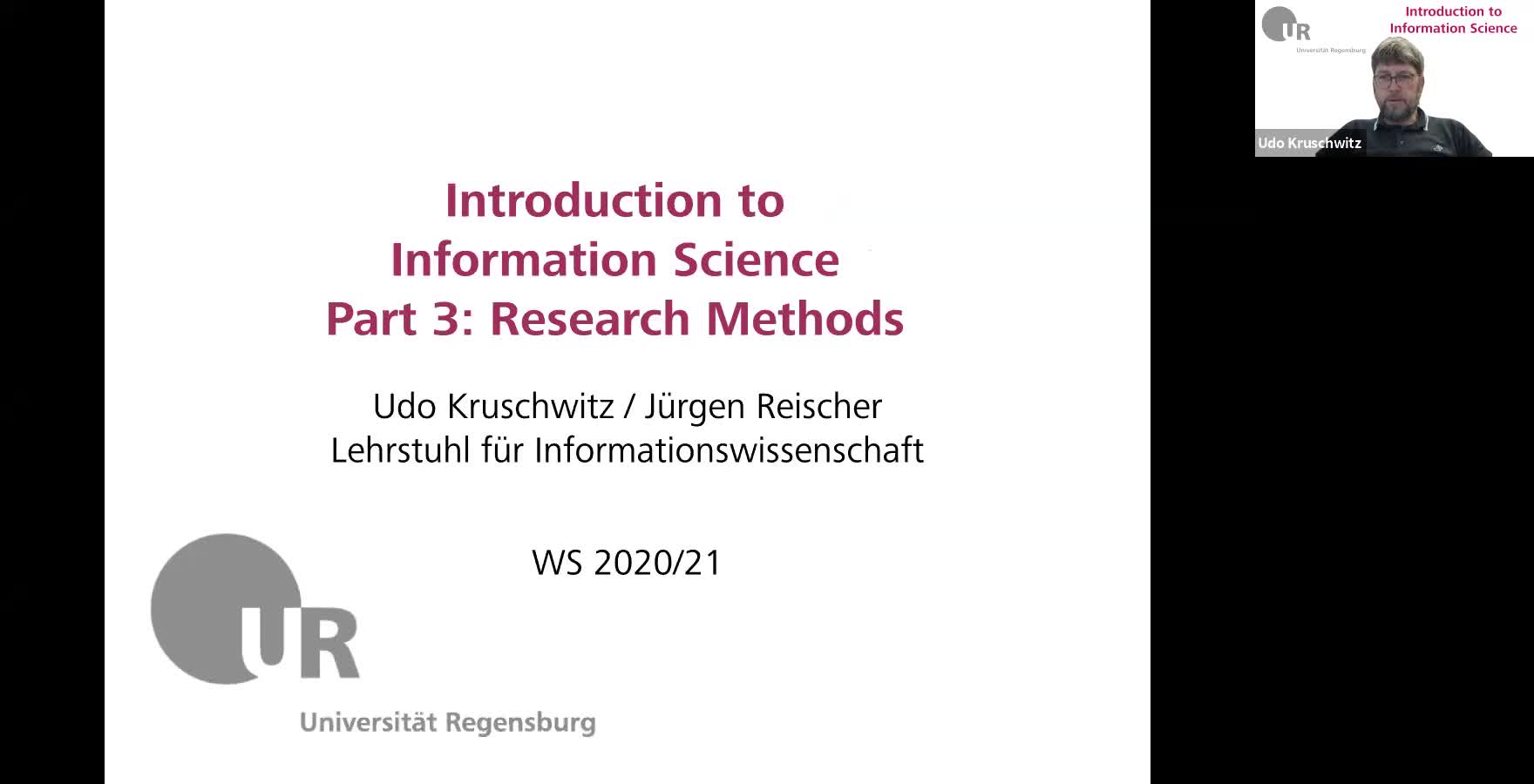 Introduction to Information Science - Lecture 4 (Research methods)