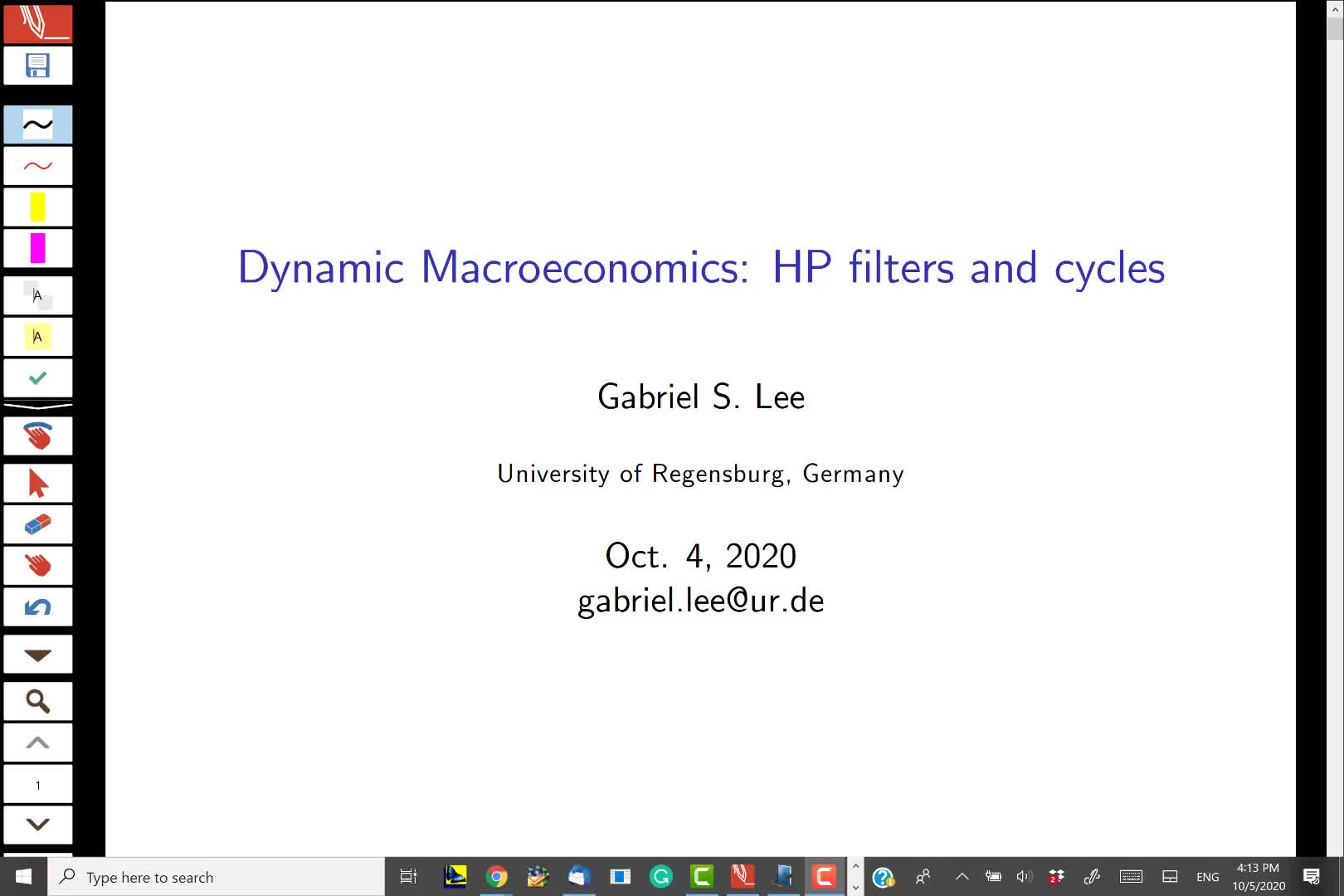 Business Cycles and HP filter