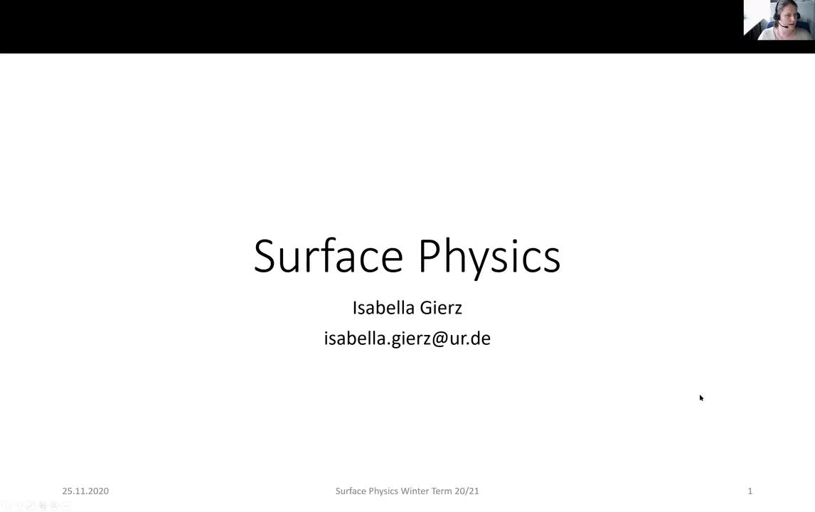 Surface Physics Lecture 20201125: Structure Determination, Diffraction Methods, LEED, RHEED