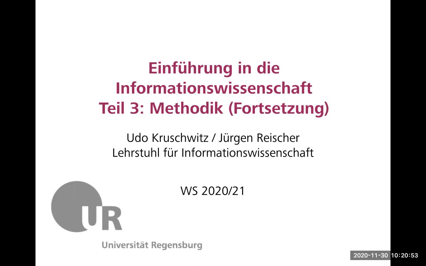 Introduction to Information Science - Lecture 5 (Research methods - continued)