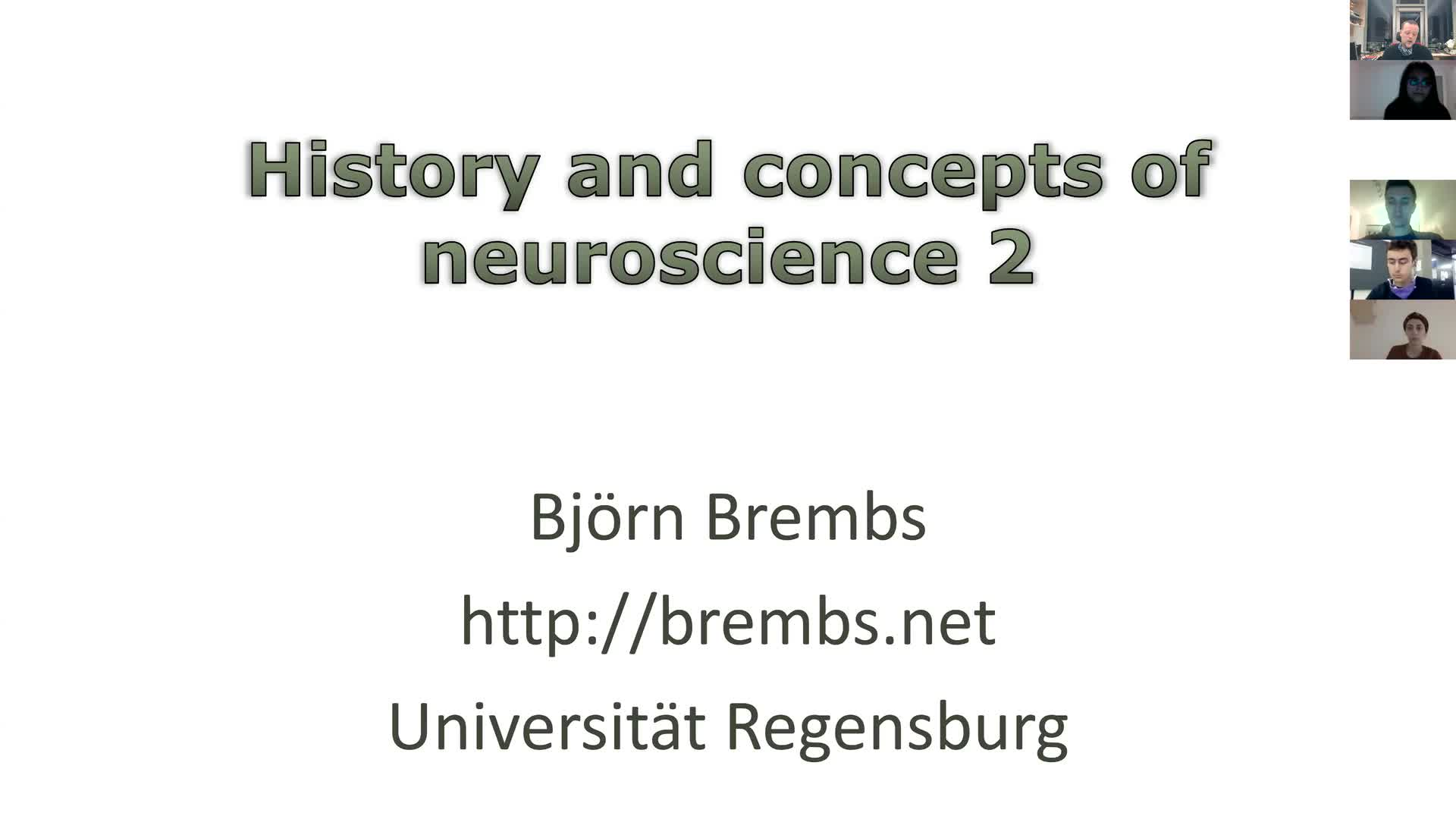 History and concepts of neuroscience 2