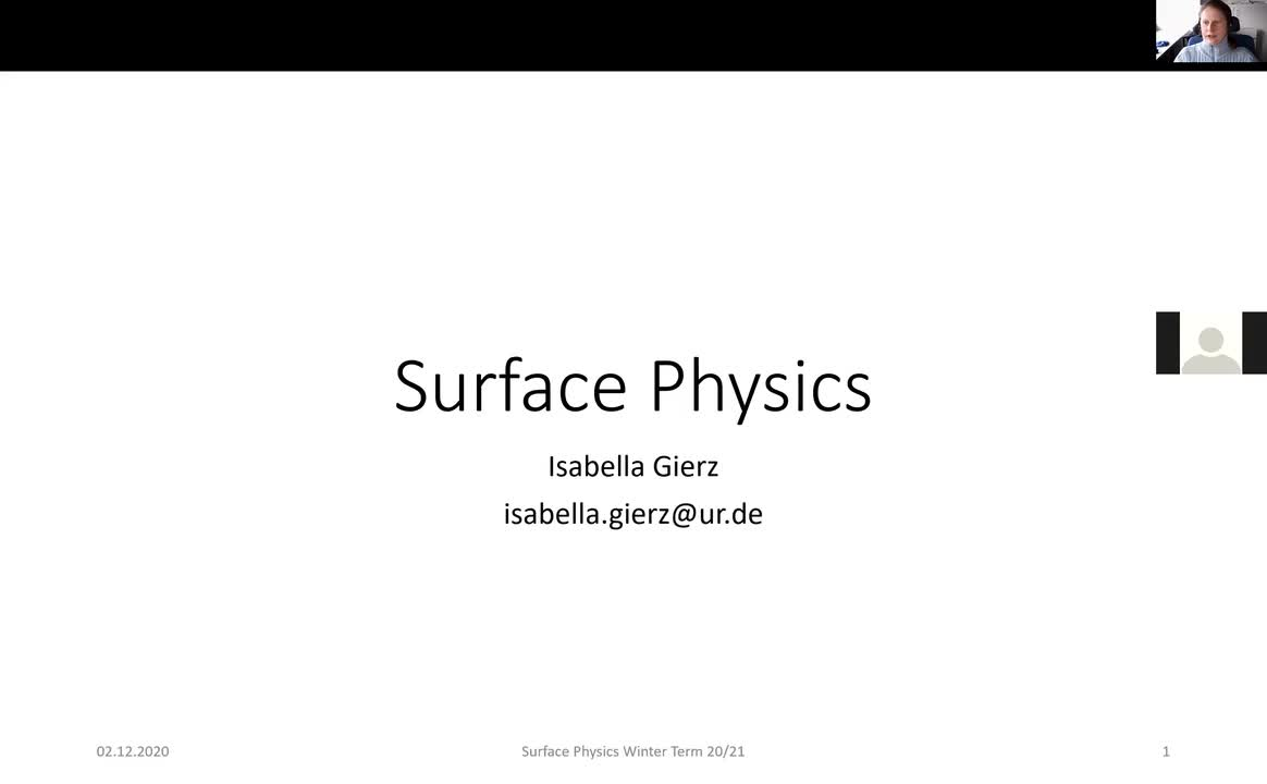Surface Physics Lecture 20201202:  Structure Determination, X-Ray Standing Waves, X-Ray Absorption, Photoelectron Diffraction