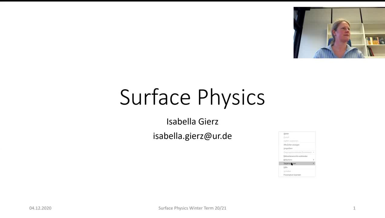 Surface Physics Lecture 20201204: Structure Determination, Microscopy, Electron Microscopy, STM, AFM