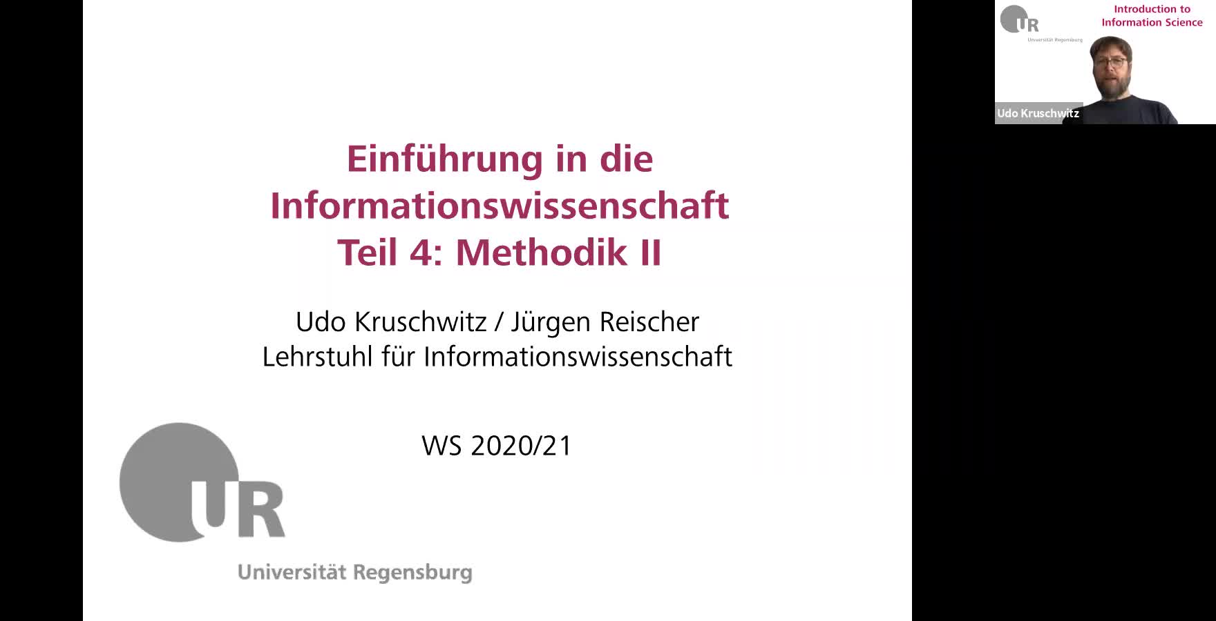 Introduction to Information Science - Lecture 6 (Research methods II)