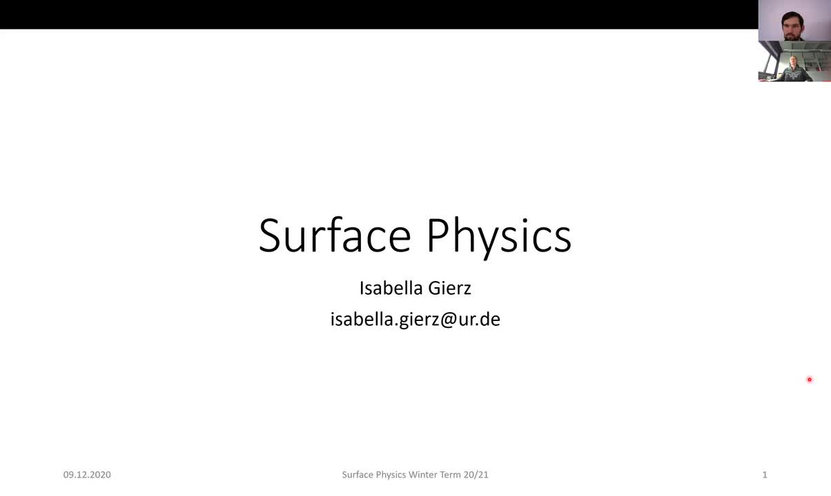 Surface Physics Lecture 20201209: Structure Determination, Ion Scattering