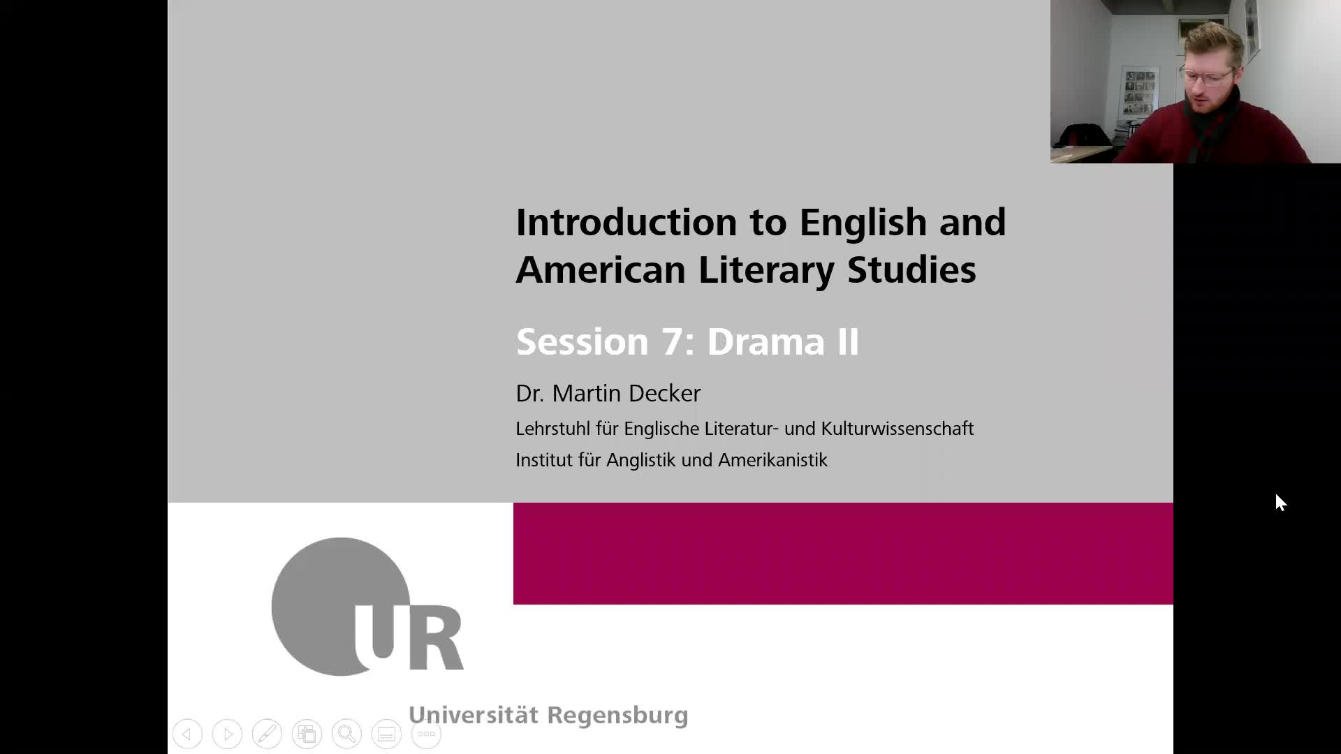 Introduction to English and American Literary Studies - LECTURE - Session 7