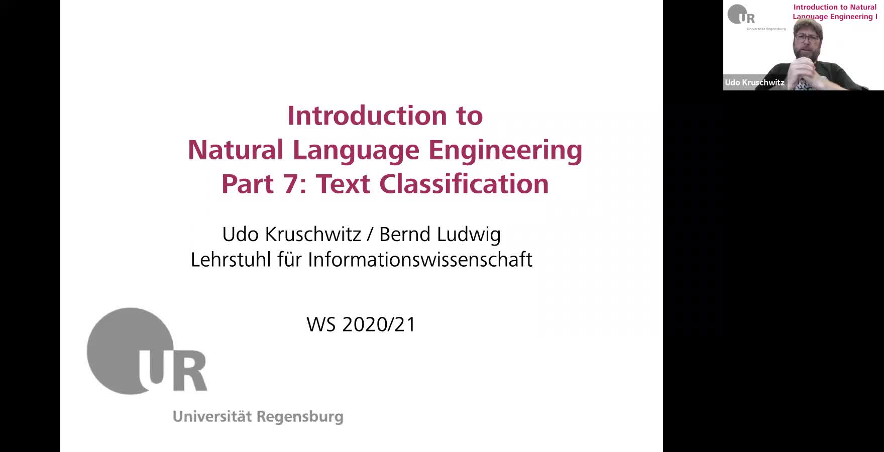 Introduction to Natural Language Engineering 1 / Informationslinguistik 1 - Lecture 7 (Text classification / Textklassifikation)