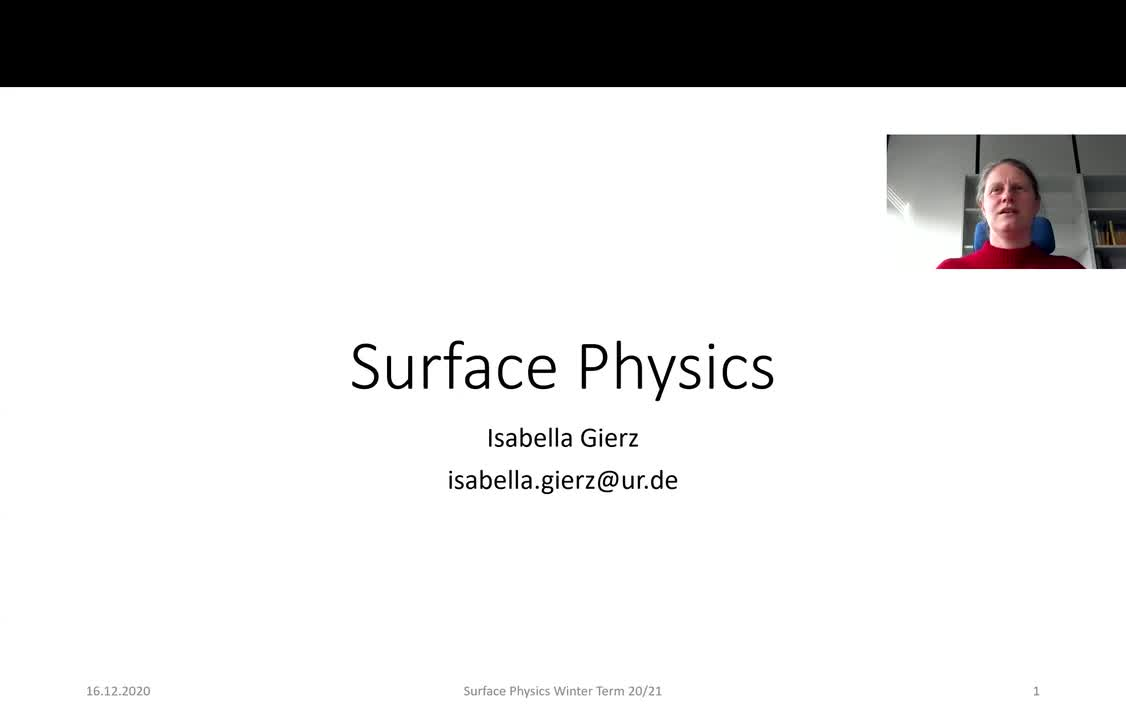 Surface Physics Lecture 20201216: Electronic Structure of Surfaces, Photoelectron Spectroscopy, ARPES, Inverse Photoemission Spectroscopy
