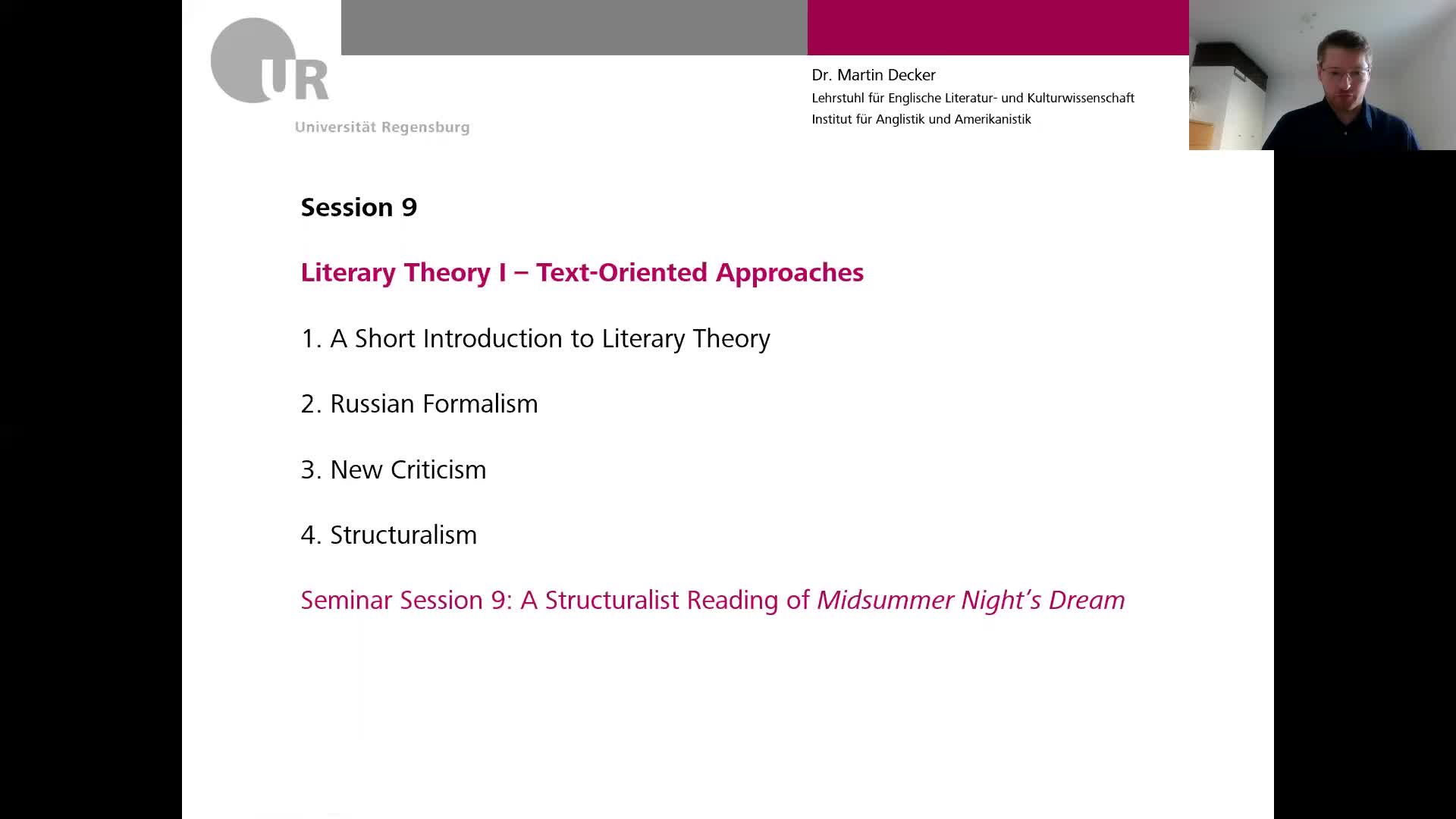 Introduction to English and American Literary Studies - LECTURE - Session 9