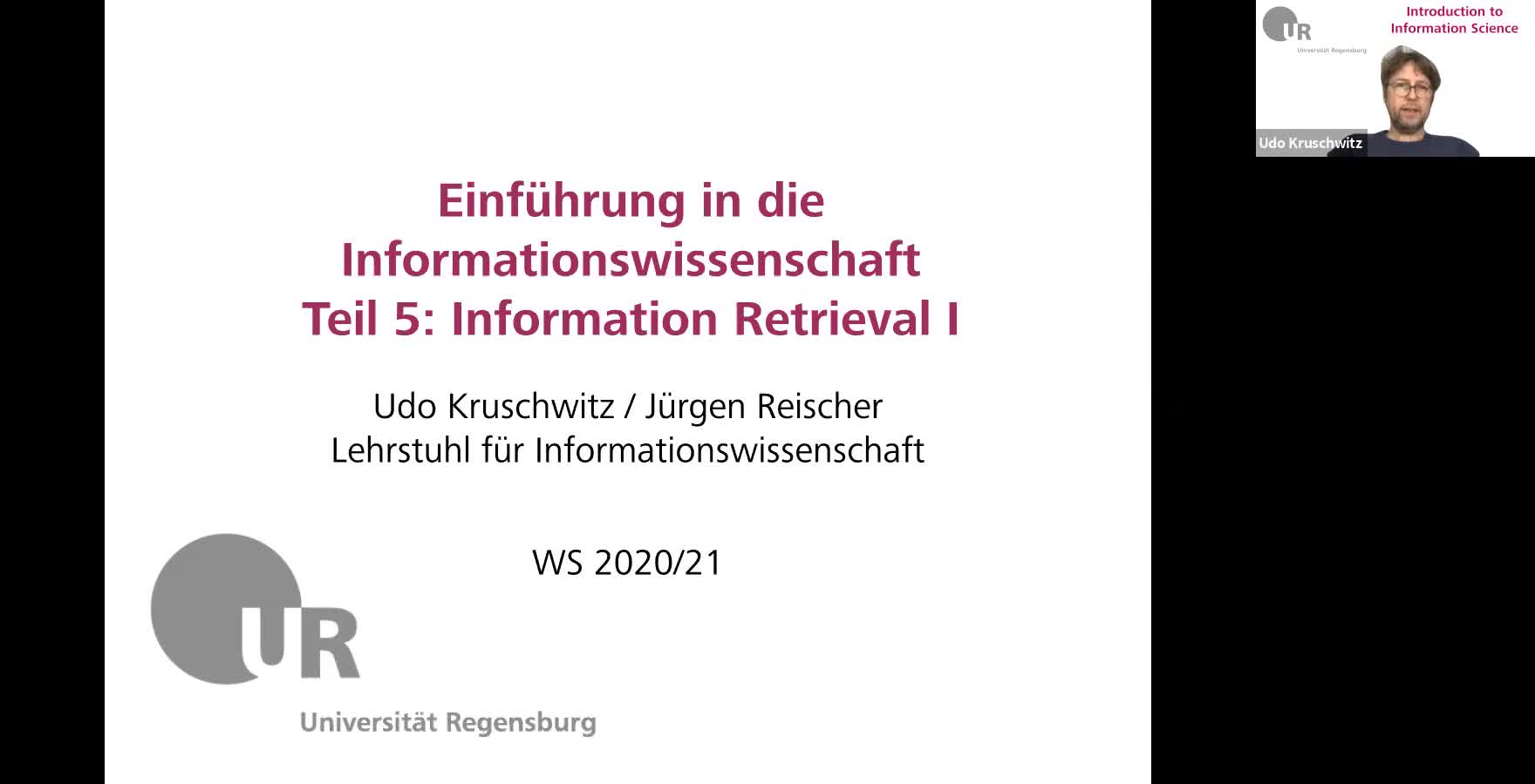 Introduction to Information Science - Lecture 9 (Information Retrieval I)