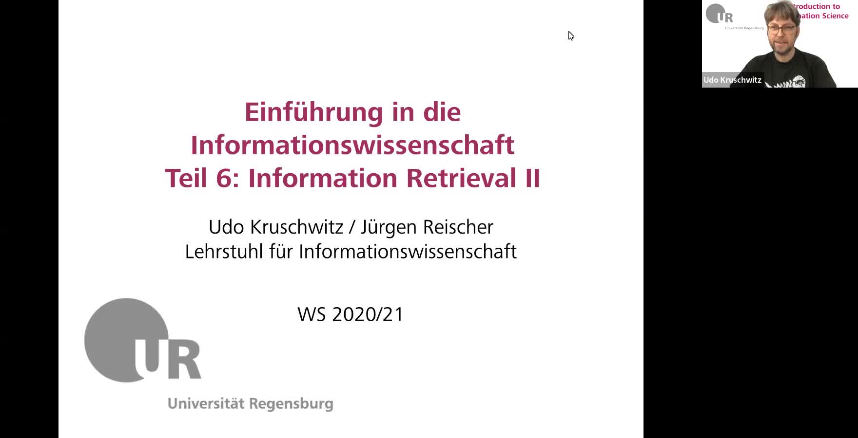 Introduction to Information Science - Lecture 10 (Information Retrieval II)