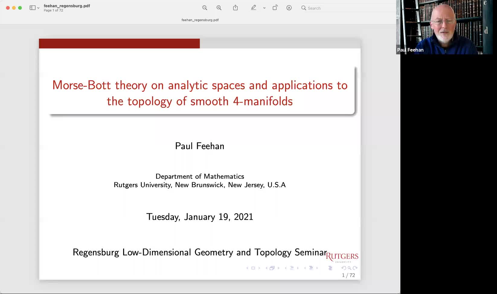 Paul Feehan: Morse-Bott theory on analytic spaces and applications to topology of smooth 4-manifolds
