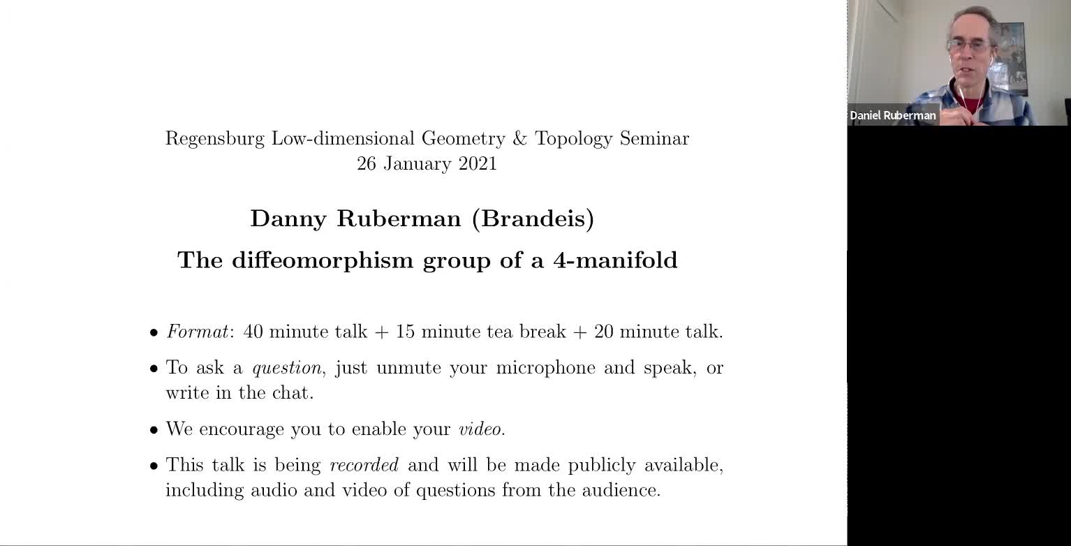 Danny Ruberman: The diffeomorphism group of a 4-manifold