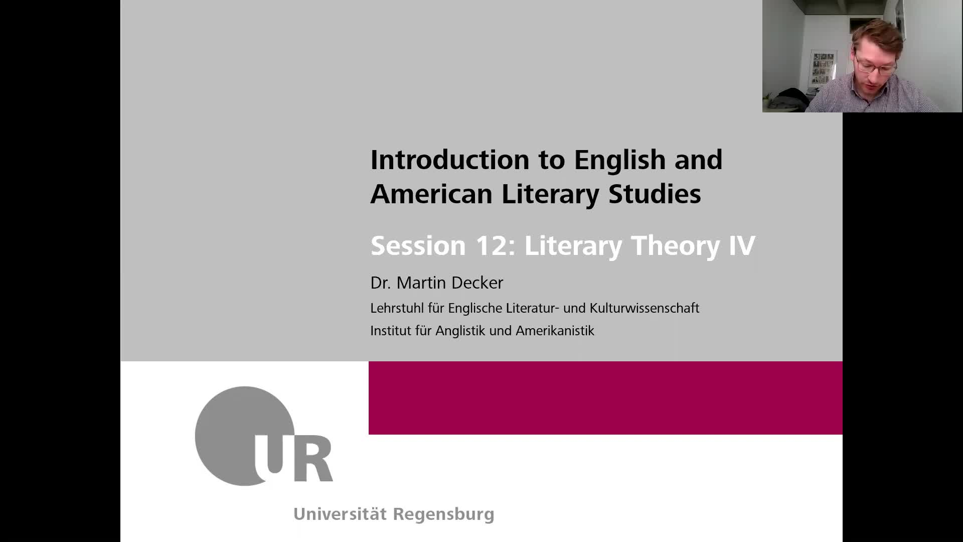 Introduction to English and American Literary Studies - LECTURE - Session 12