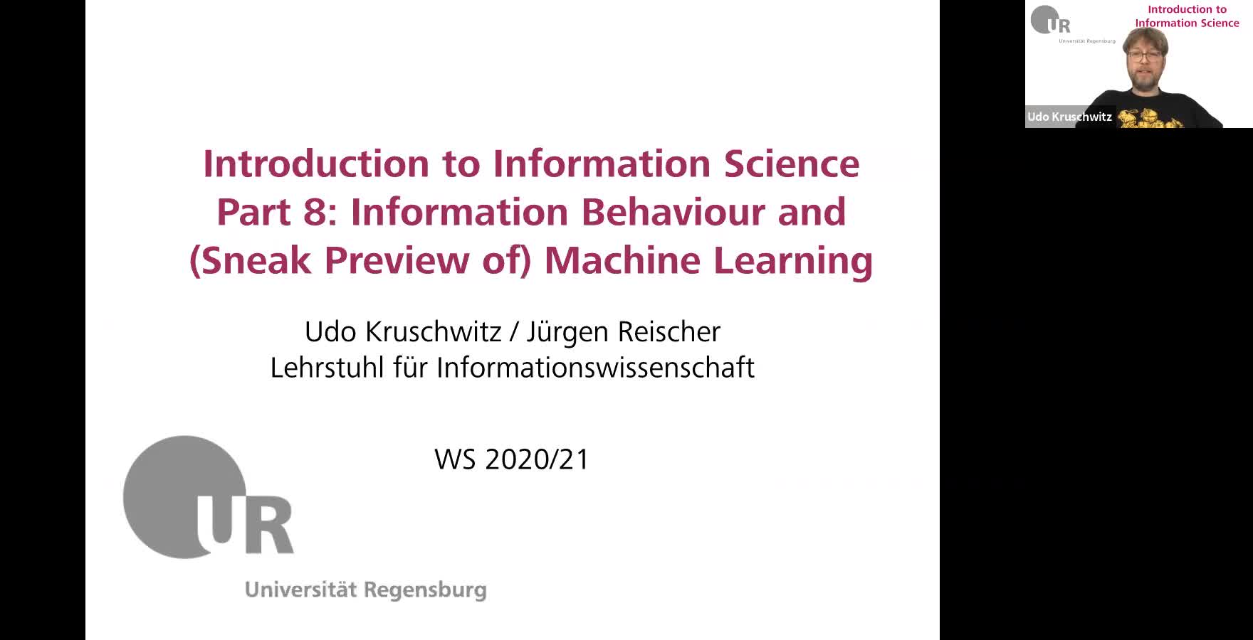 Introduction to Information Science - Lecture 12 (Information Behaviour and a glimpse into Machine Learning)