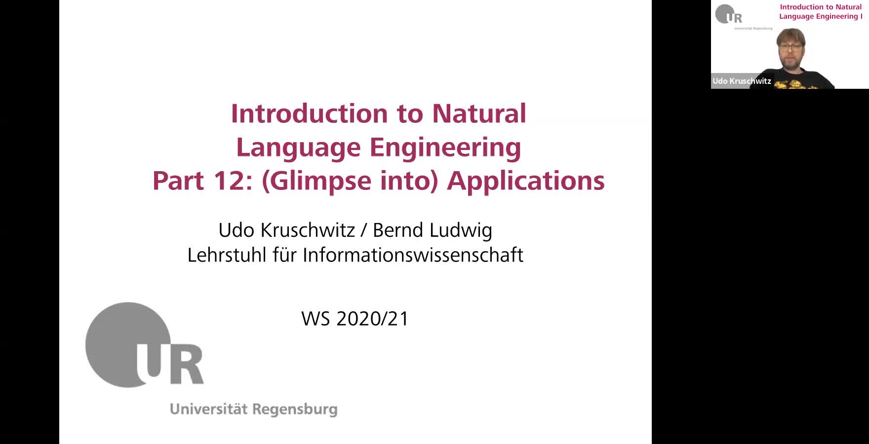 Introduction to Natural Language Engineering 1 / Informationslinguistik 1 - Lecture 12 (Applications / Anwendungsbeispiele)