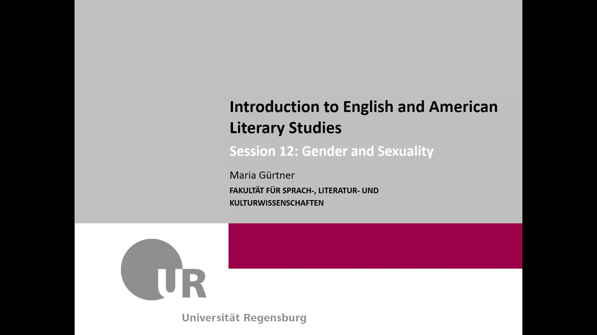 Session 12: Gender and Sexuality