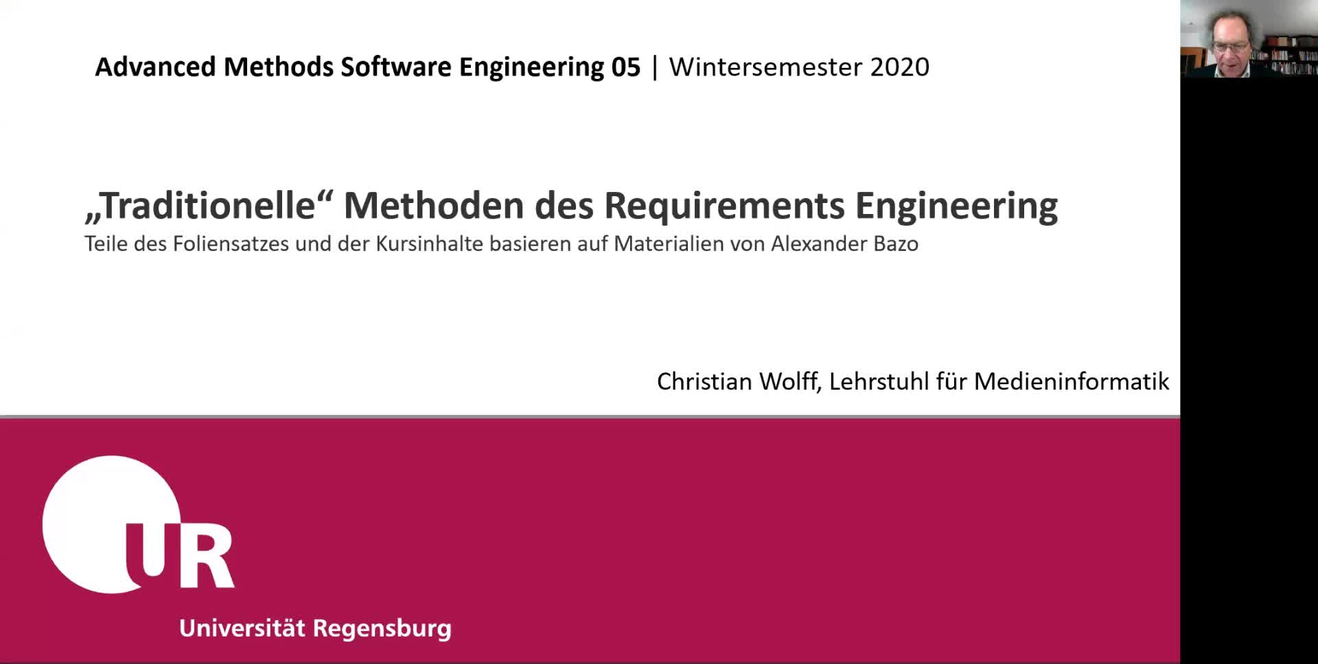 Advanced Software Engineering 05: Traditionelle Methoden im Requirements Engineering