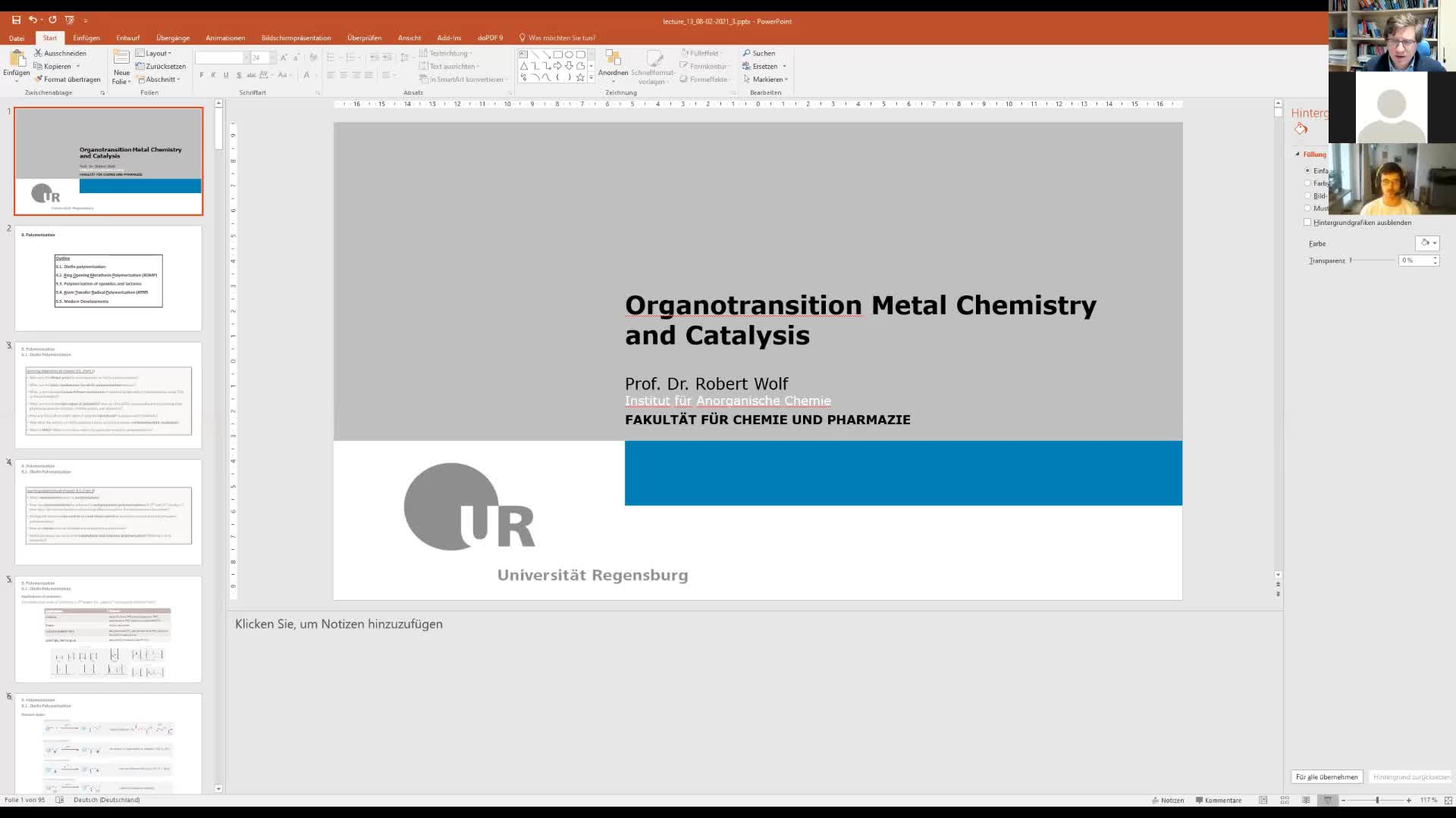 Organotransitionmetal Chemistry and Catalysis, lecture 13, 08/02/21