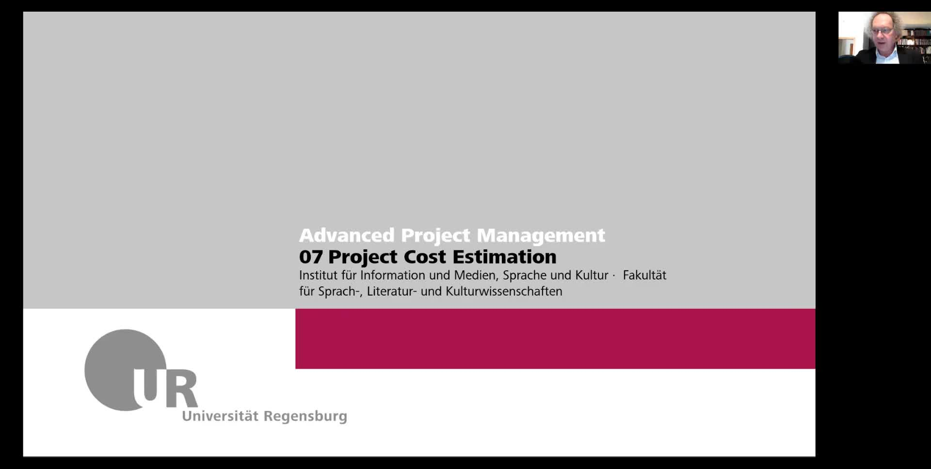 Advanced IT Project Management WS 2021: 07b Cost Estimation