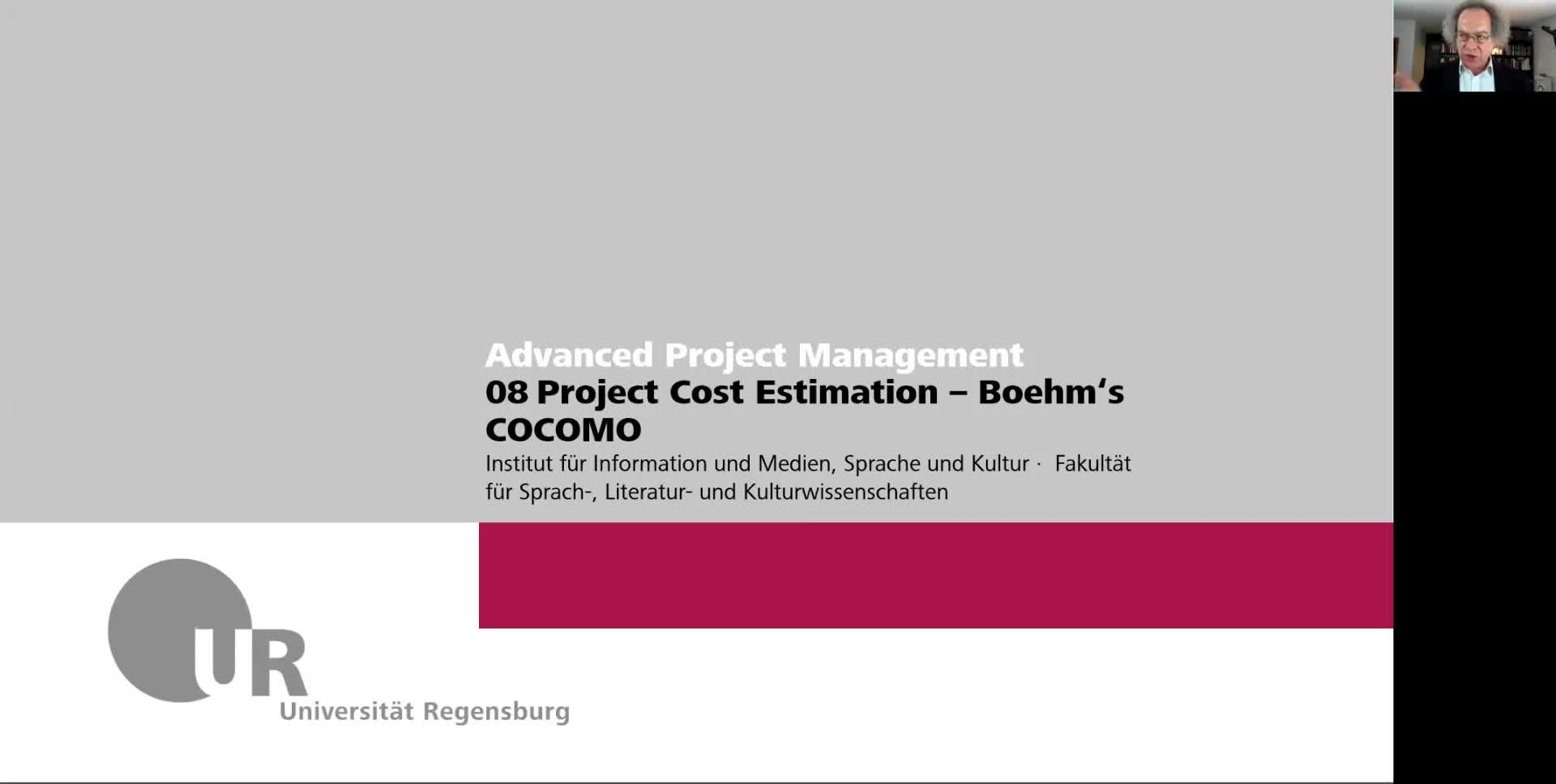 Advanced IT Project Management WS 2021: 08 09 Cost Estimation Bohems COCOMO, Risk Management