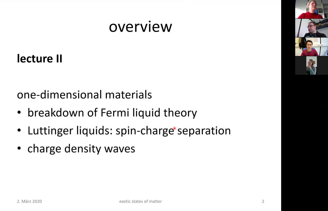 Exotic States of Matter II: 1D Solids