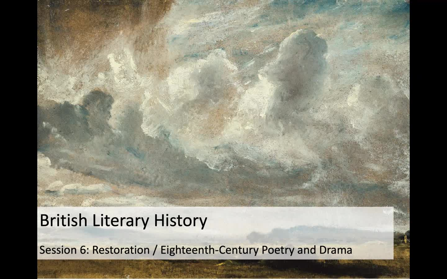 Week 6 - Restoration / C18th Poetry and Drama