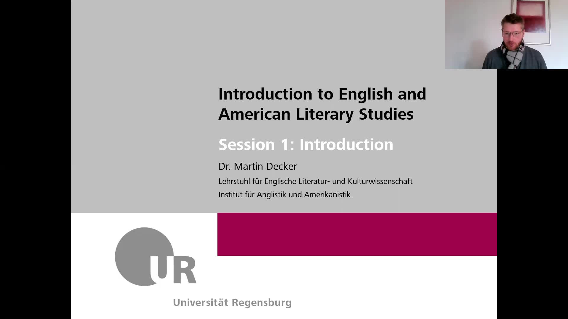 SoSe 2021 - Introduction to English and American Literary Studies - Session 1