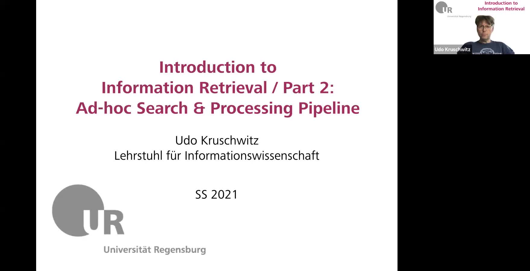 Introduction to Information Retrieval - Lecture 2 (Ad-hoc search and processing pipeline)