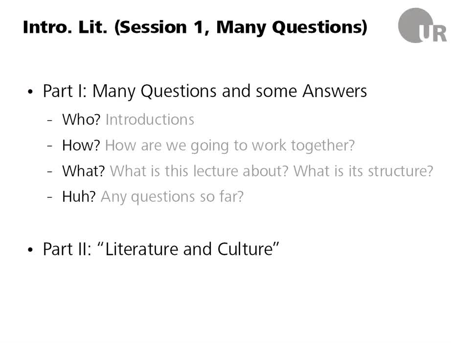 Introduction to English and American Literary Studies - Session 1