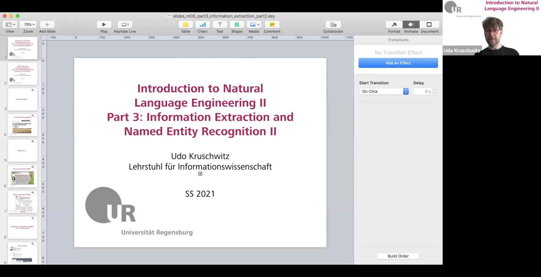 Introduction to Natural Language Engineering 2 / Informationslinguistik 2 - Lecture 3 (Information Extraction and Named Entity Recognition II / Informationsextraktion und Extraktion von Entitäten II)