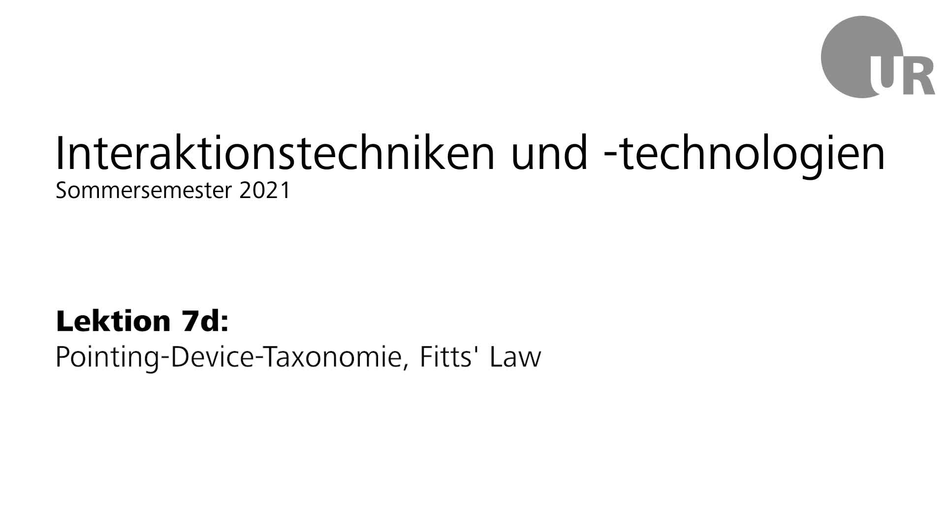 Lektion 7d: Pointing-Device-Taxonomie, Fitts' Law