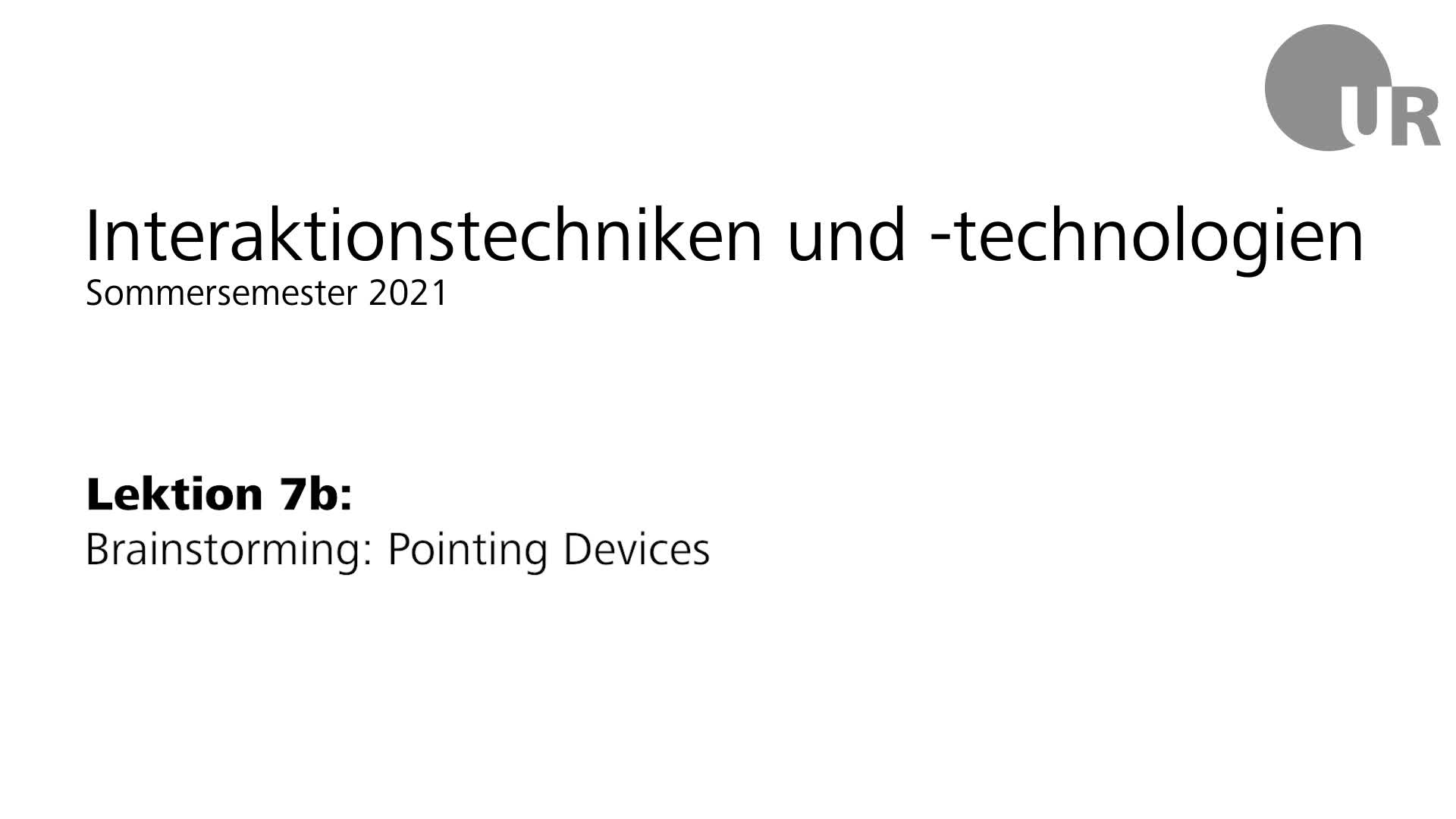 Lektion 7b: Brainstorming: Pointing Devices