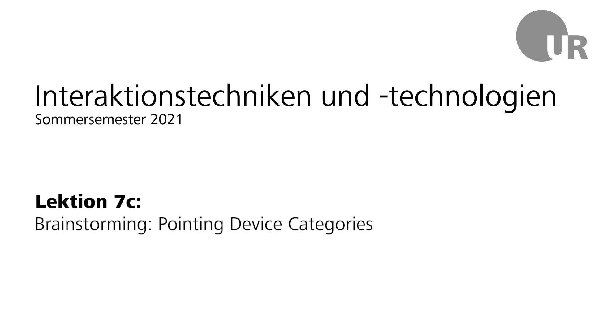 Lektion 7c: Brainstorming: Pointing Device Categories