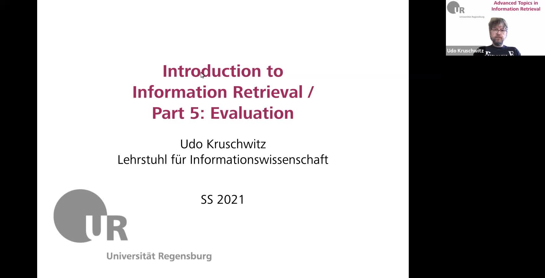 Introduction to Information Retrieval - Lecture 5 (Evaluation)