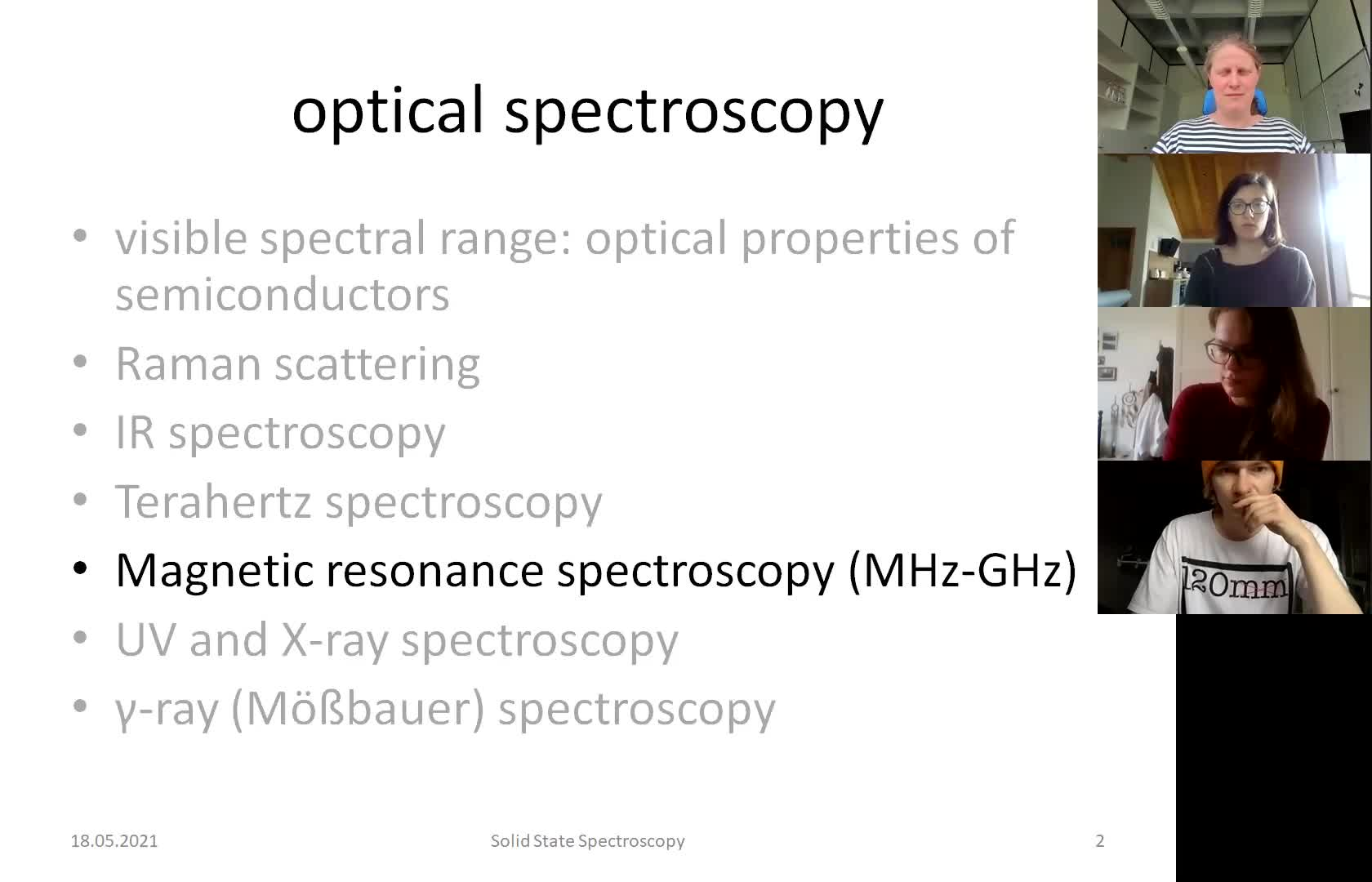 Solid State Spectroscopy 20210518: Magnetic Resonance Spectroscopy, X-ray Spectroscopy