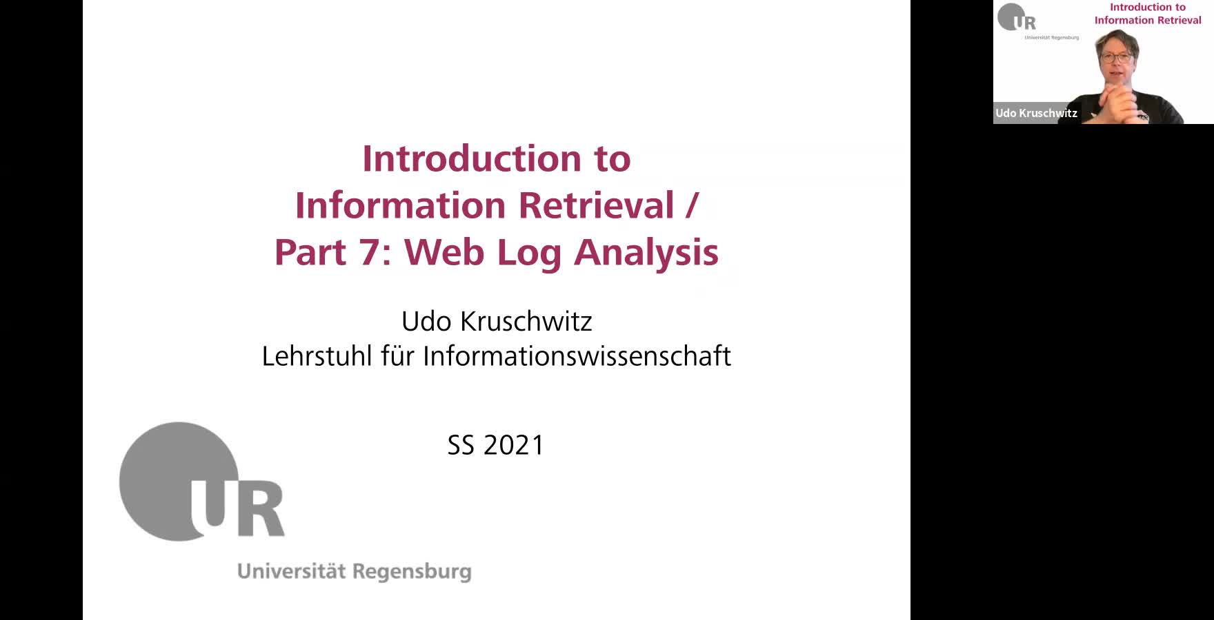 Introduction to Information Retrieval - Lecture 7 (Web log analysis)