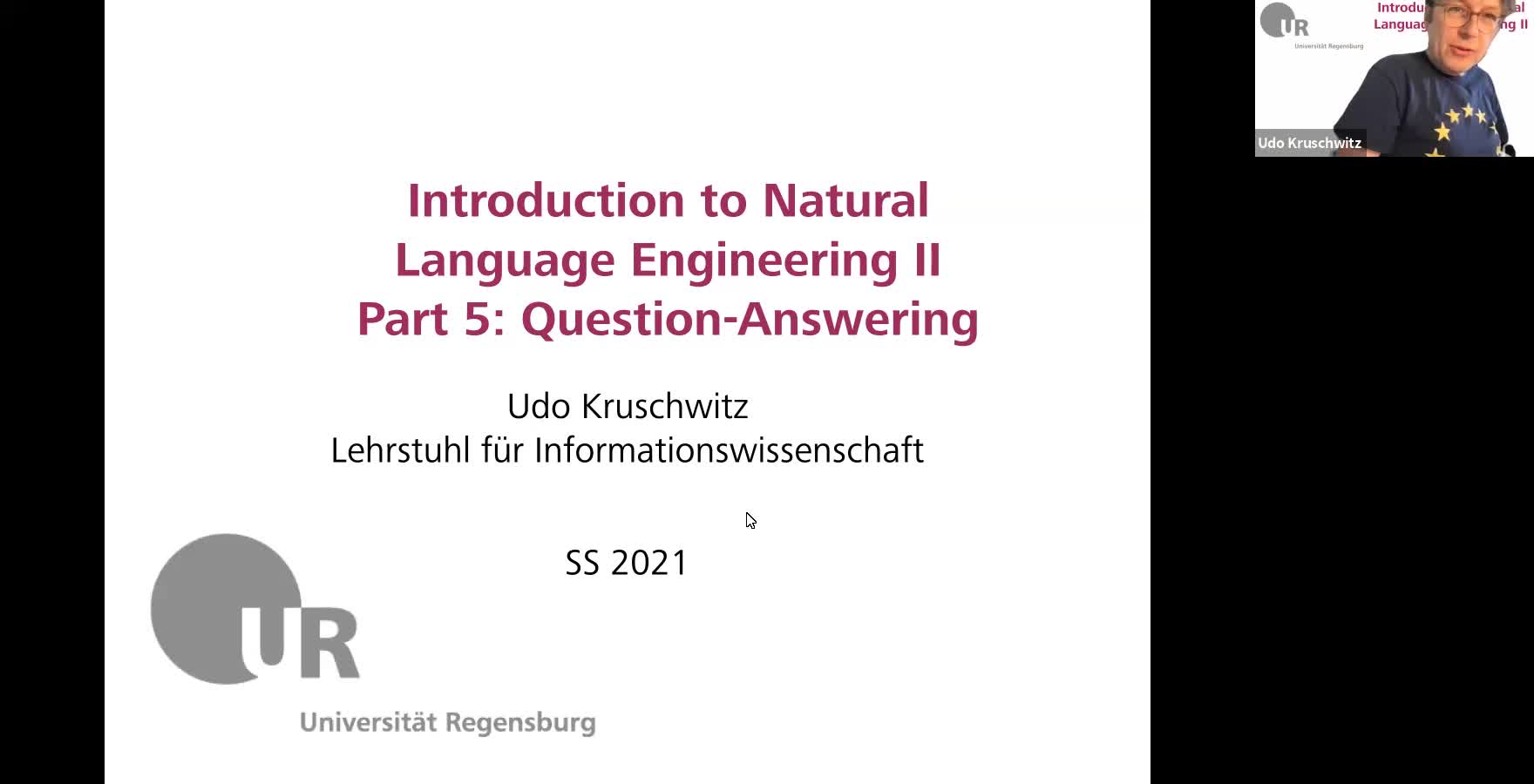 Introduction to Natural Language Engineering 2 / Informationslinguistik 2 - Lecture 7 (Question-answering systems II)