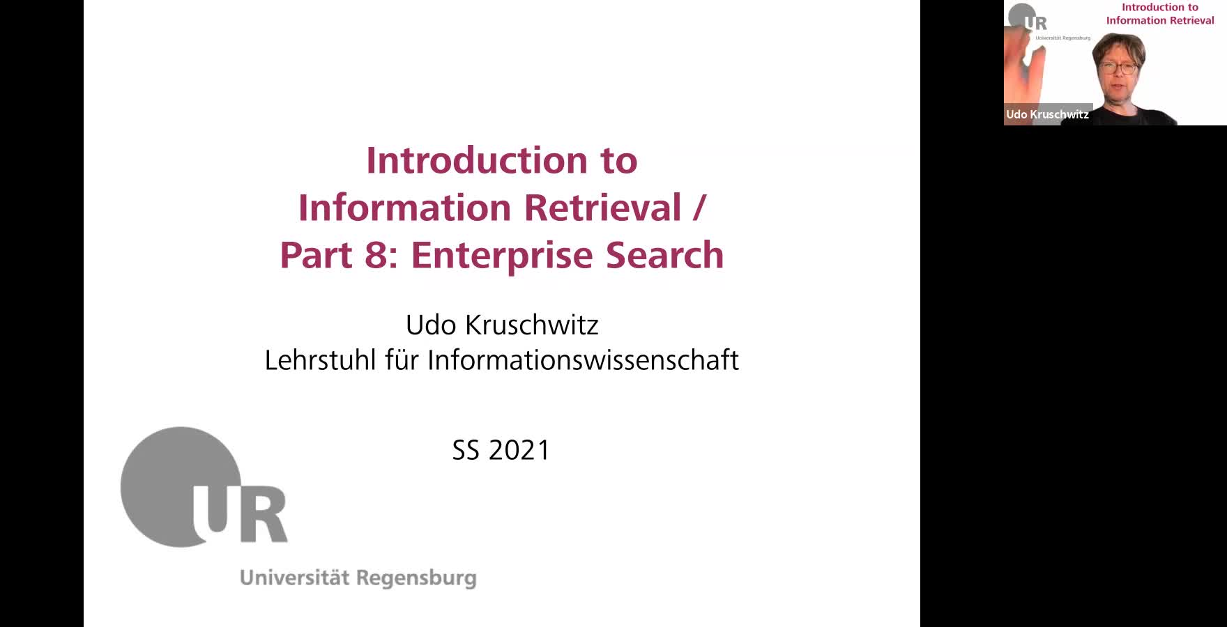 Introduction to Information Retrieval - Lecture 8 (Enterprise search)