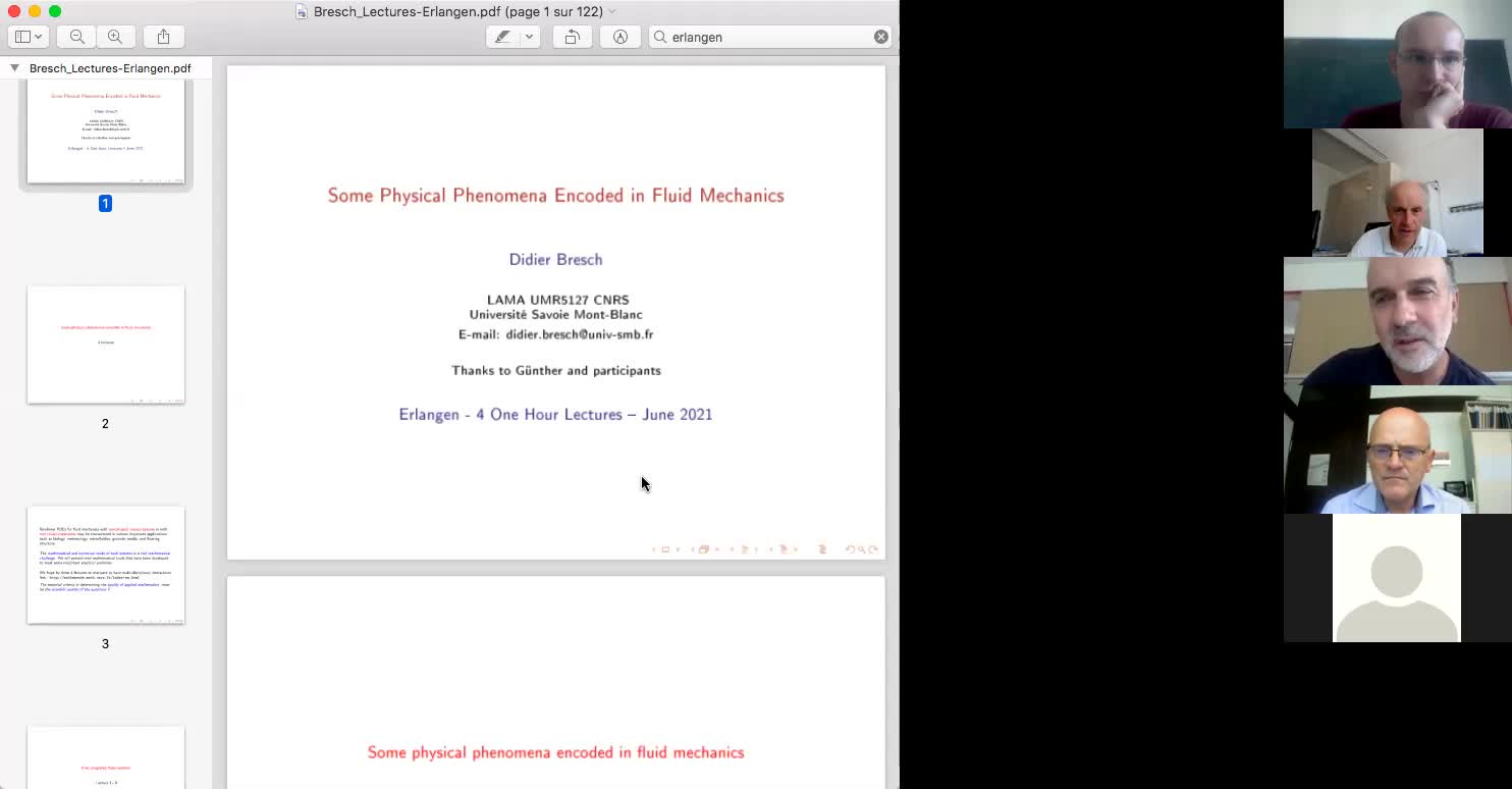 """Lecture series """"Some Physical Phenomena encoded in Fluid Mechanics"""" by Didier Bresch, Part 1"""