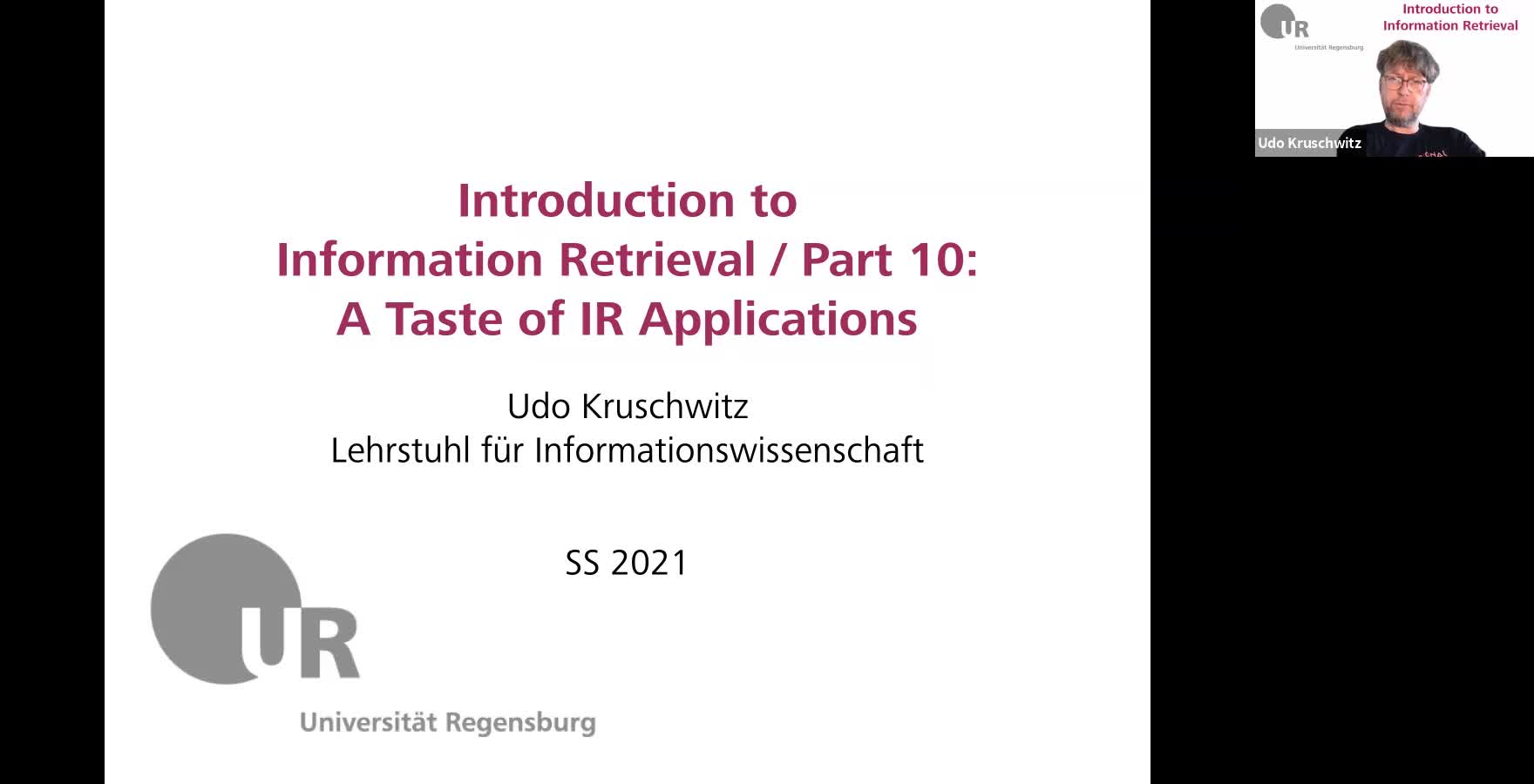 Introduction to Information Retrieval - Lecture 10 (A taste of IR applications)